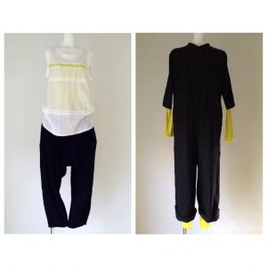 左:透けキミドリ タニアUネックタンクトップ  右:見せキミドリ ケイト長袖T + パッチ